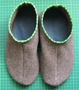 Handmade recycled blanket slippers