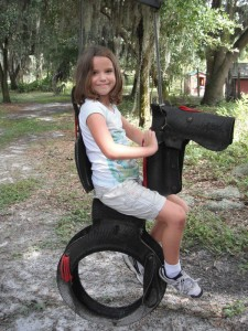 Recycled tyre pony swing