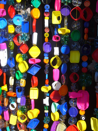 recycled plastic colourful beaded curtain