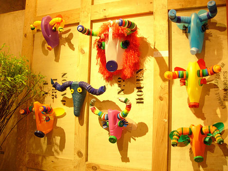 recycled plastic animal head trophies