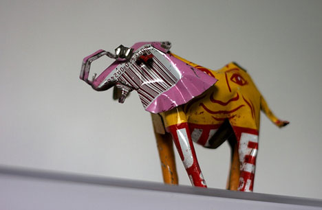 recycled scrap metal elephant