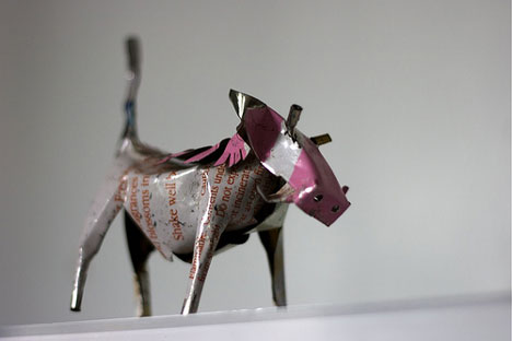 recycled warthog made from scrap metal