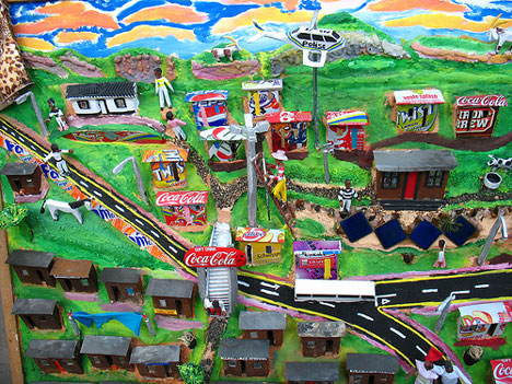 recycled materials for township scene artwork