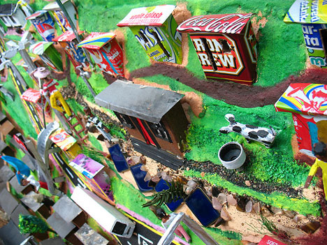 recycled materials make a 3d township scene