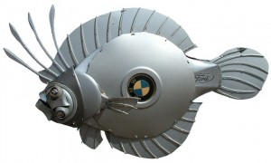 recycled hubcap art